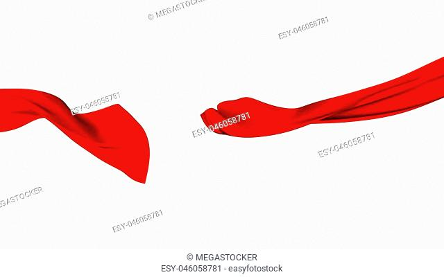 3D Illustration of Red Cut Ribbon Waving - Isolated on white