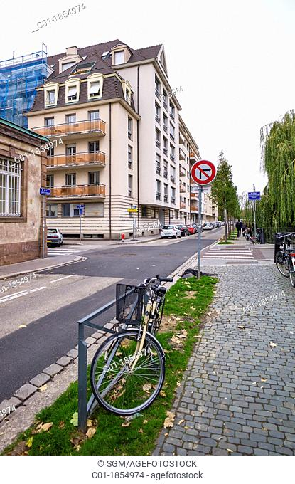 Pavement bike street Strasbourg Alsace France