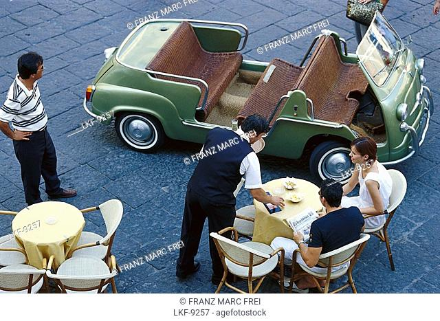 Oldtimer and people at a cafe, Piazza del Duomo, Amalfi, Campania, Italy, Europe