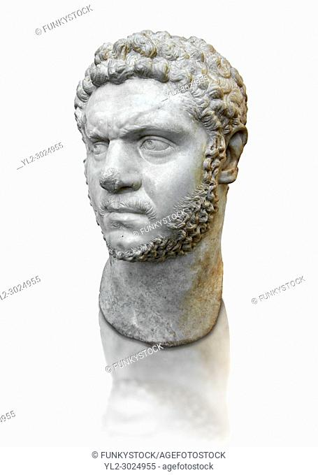 Roman sculpture bust of Marcus Aurelius Severus Antoninus Augustus better known as Caracalla, made between 210 and 213 AD and excavated from the via Cassia