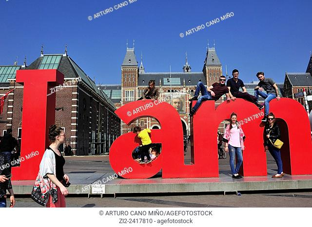 Touristic advertising installation, about the city. In the background is the Rijksmuseum. Amsterdam, The Netherlands