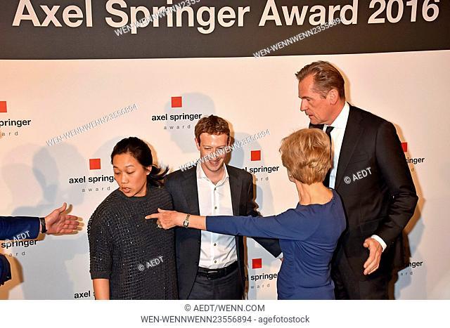 Axel Springer Award at Axel-Springer-Haus in Kreuzberg Featuring: Mathias Doepfner, Priscilla Chan, Mark Zuckerberg, Friede Springer Where: Berlin