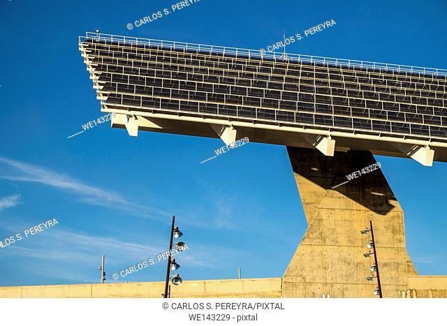 Photovoltaic pergola, Forum Park, 2004, by architects Elías Torres y José Antonio Lapeña, Barcelona, Catalonia, Spain