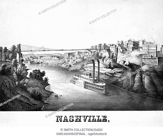Lithograph captioned 'Nashville', depicting a steamboat going down the Cumberland River, and the city perched on a hill, Nashville, Tennessee, 1857