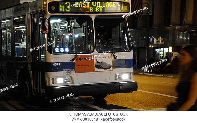MTA public transportation bus, 42 Street, 5th Avenue, New York City, USA