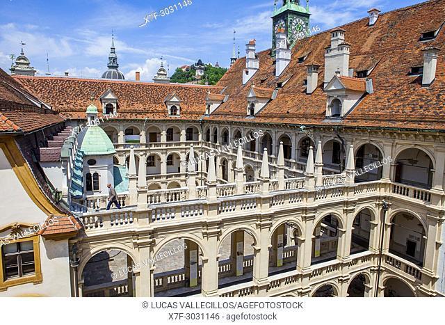 courtyard of Landhaus, Landhausshof, Graz, Austria