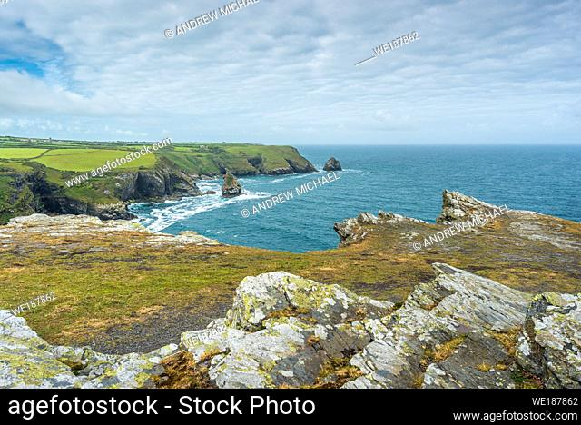 Coastal views from Willapark Lookout near Boscastle on the Atlantic coast of Cornwall, England, UK