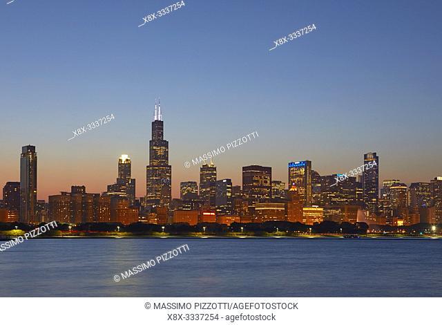Chicago Skyline at blue hour, Chicago, Illinois, United States