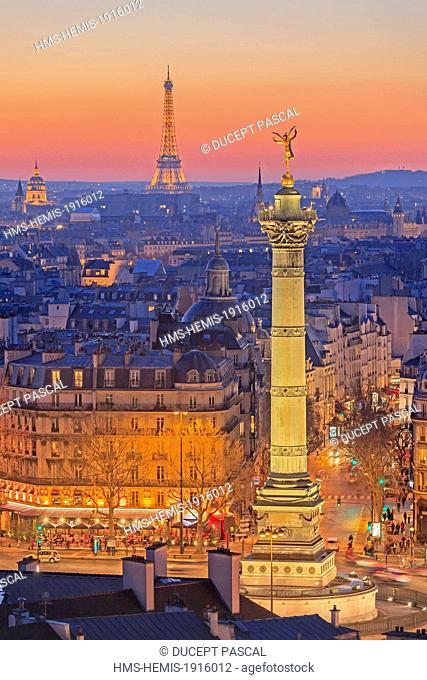 France, Paris, general view of Paris with the July Column (Colonne de Juillet) at Place de la Bastille, the Eiffel Tower (© SETE illuminations Pierre Bideau)