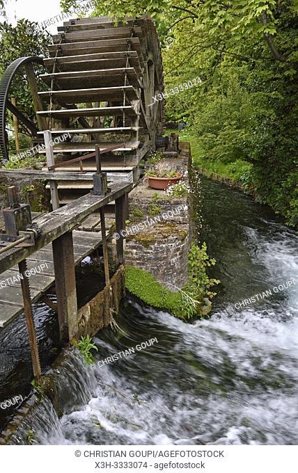 Moulin Anquetil au bord de la Veules ( le plus petit fleuve de France, 1149 m), Veules-les-Roses, departement de Seine-Maritime, region Normandie