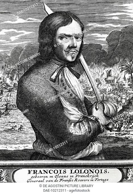 Portrait of Jean David Nau known as Francois l'Olonnais (Les Sables-d'Olonne, 1630-Darien province, 1671), French filibuster and pirate, 1678