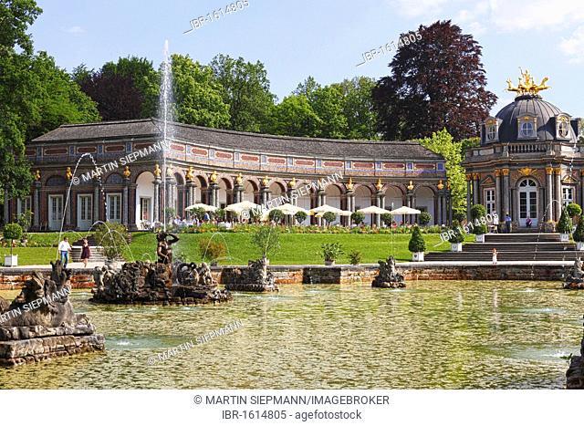 Upper cave, orangery, Sonnentempel sun temple, Neues Schloss castle, Eremitage park, Bayreuth, Upper Franconia, Franconia, Bavaria, Germany, Europe