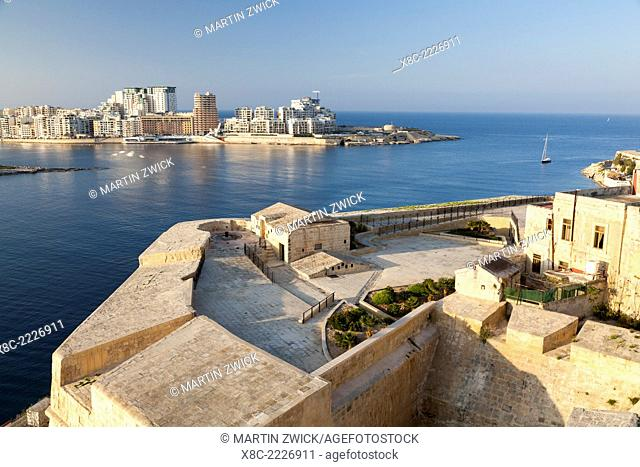 Valletta, the capital of Malta and listed as UNESCO world heritage. view from the western city wall (St. Michaels Bastion) towards Marsamxett Harbour and Sliema