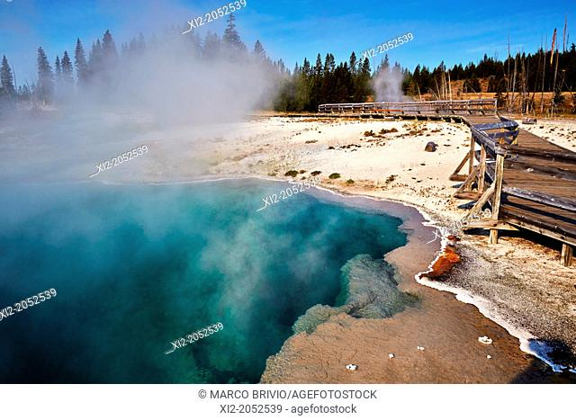 West Thumb Geyser Basin. Black and Abyss Pool. Yellowstone National Park. Wyoming, USA
