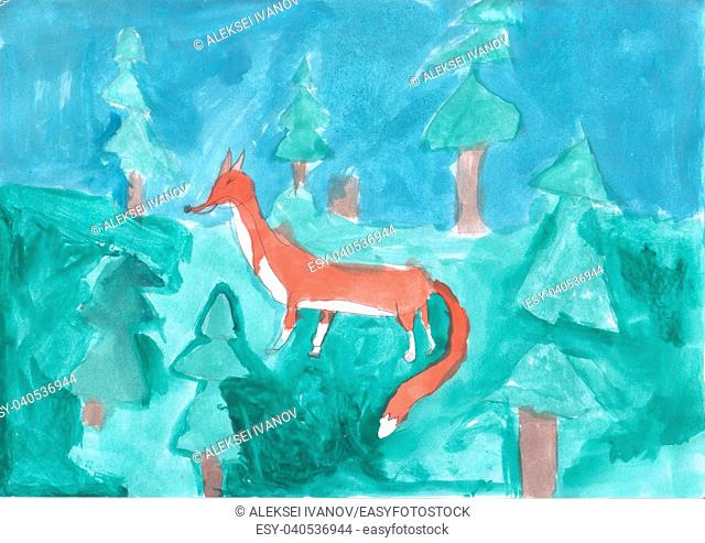 Children's drawing - Fox in the forest