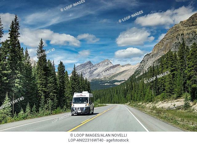Canadream touring motorhome driving the Icefields Parkway Highway 93 in the Canadian Rockies