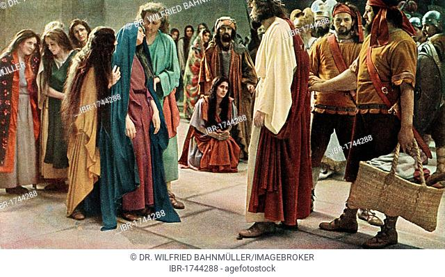Jesus meeting his mother, colour post card from a Uvatypie template, Oberammergau Passion Play 1930, Upper Bavaria, Bavaria, Germany, Europe