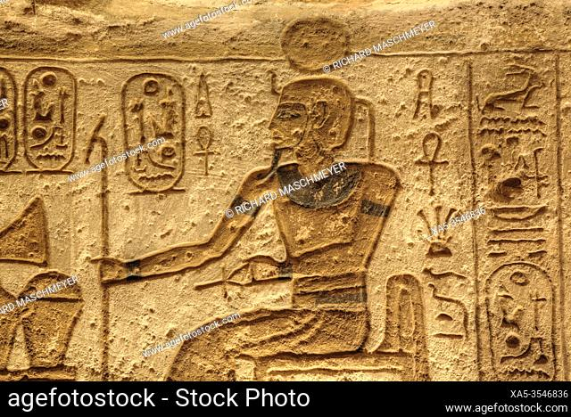 Sunken Relief, Lateral Chamber, Ramses II Temple, UNESCO World Heritage Site, Abu Simbel, Egypt
