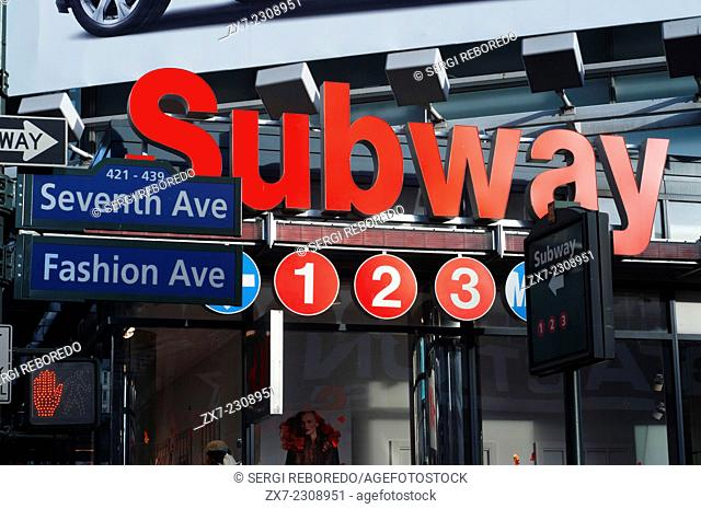 New York Subway. Seventh Avenue. Fashion Avenue. Manhattan. USA. Nearly thirty million visitors a year pass through this area of †‹†‹Manhattan