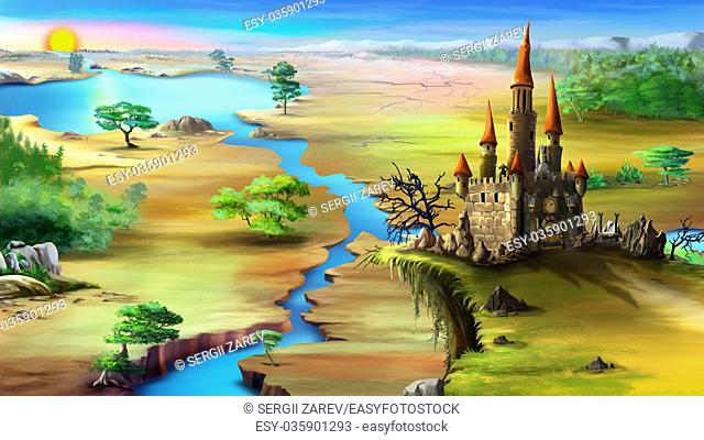 Magical fairy tale castle on a rock above the blue river in a summer morning. Digital painting background, Illustration in cartoon style character