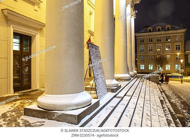 Winter evening at the entrance to Vilnius city hall, Lithuania