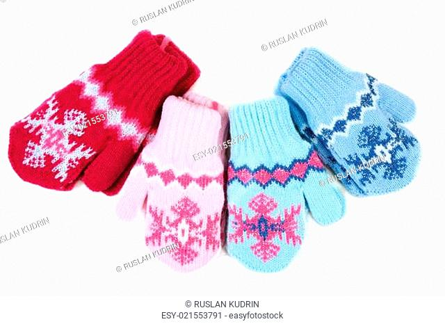 Baby knitted mittens with pattern