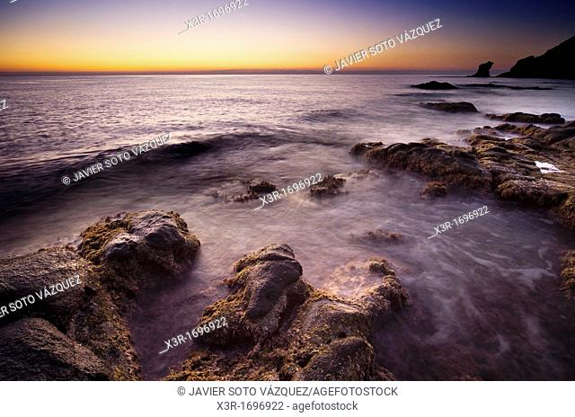 Sunset on the coast of the natural park of Cabo de Gata
