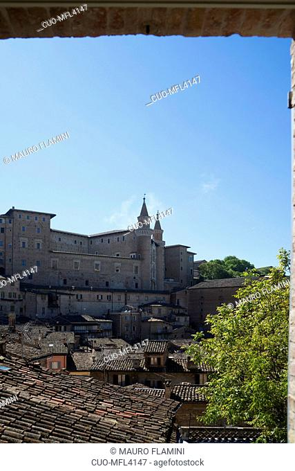 View of the Ducal Palace from the Oratorio San Giovanni, UNESCO World Heritage Site, Urbino, Marche, Italy, Europe