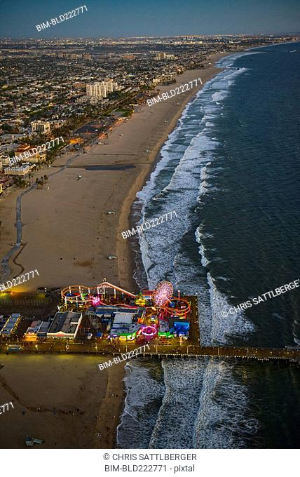 Aerial view of Santa Monica Pier in Los Angeles cityscape, California, United States