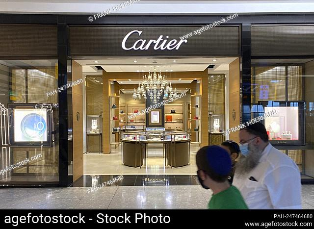 Cartier boutique, luxury brand, luxury brand at London Airport, shop, store. - London/