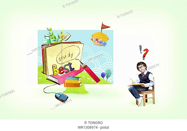 a kid sitting on a chair next to illustrated drawing