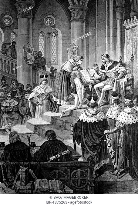 Emperor Charles IV signing at the Diet of Metz, the Golden Bull, 1356, historical illustration, circa 1886
