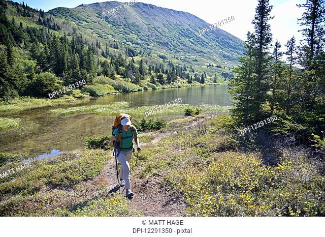 Woman backpacker hikes along Upper Fuller Lake in the Kenai National Wildlife Refuge on the Kenai Peninsula in South-central Alaska