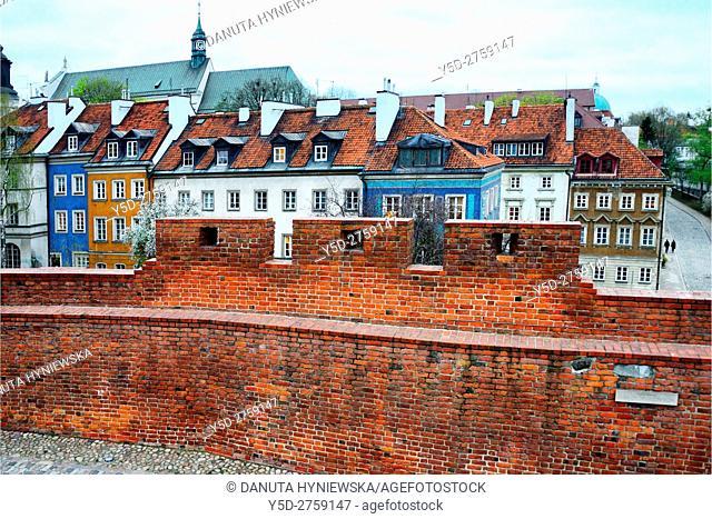 Miedzymurze Jana Zachwatowicza - space between fortified walls called Jan Zachwatowicz name, view for facades of townhouses - Mostowa street, in background St