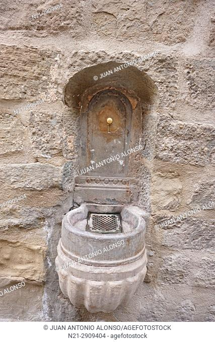 Fountain on the Main Street. Cervera, Lleida, Catalonia, Spain, Europe
