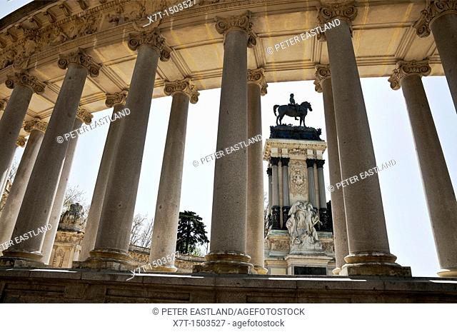 The monument to Alfonso XII, in the Retiro Park, Madrid, Spain