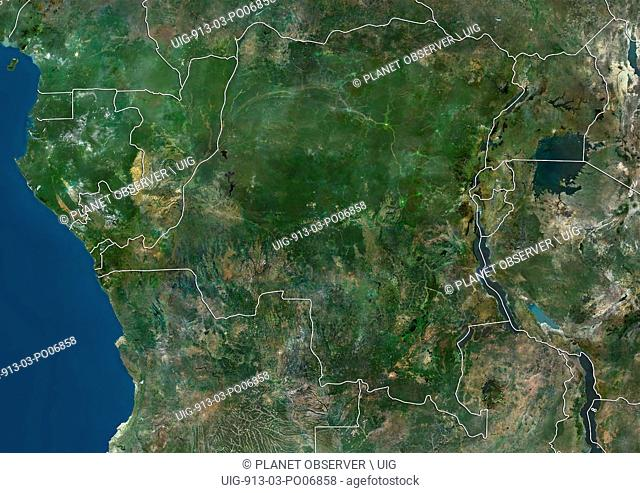 Satellite view of Central Africa (with country boundaries) showing Equatorial Guinea, Gabon, Republic of the Congo, Democratic Republic of the Congo, Burundi