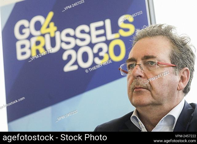 Brussels region Minister-President Rudi Vervoort pictured during the launch of Go4Brussels 2030, by the Brussels Government