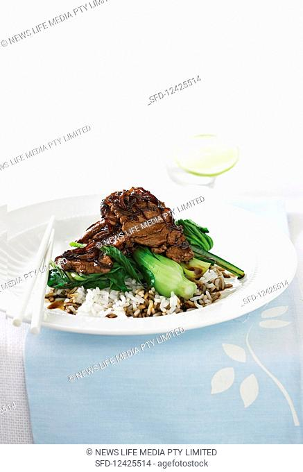Marinated beef with onion and pak choi on rice