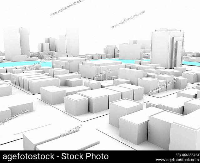 3d rendering of white city downtown