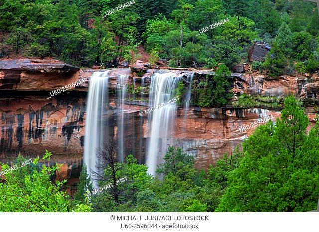 Heavy rains produce waterfalls at Emerald Pools at Zion National Park, Utah