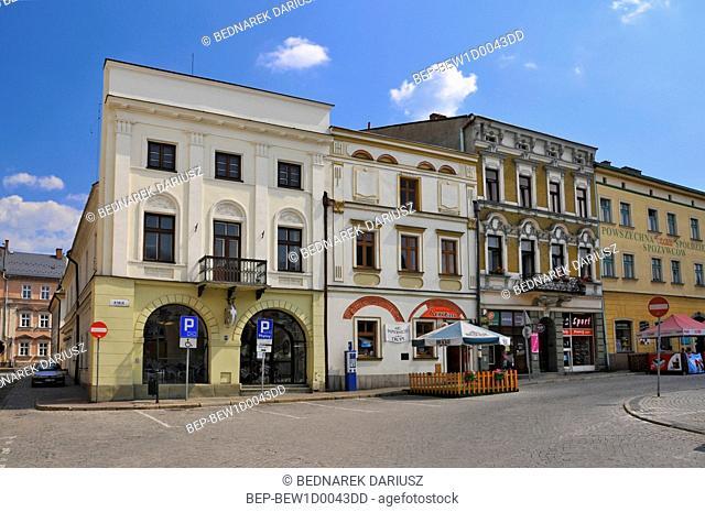 Townhouses on the market square in Cieszyn, Silesian Voivodeship, Poland