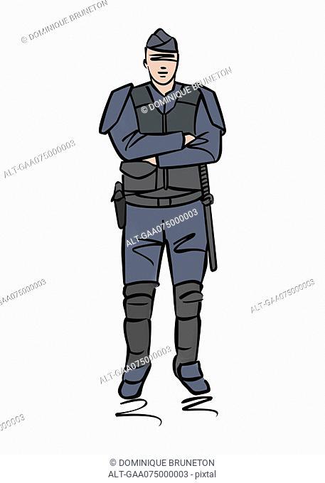 Illustration of police officer or gendarme