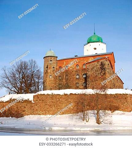 The old castle in the town of Vyborg in winter