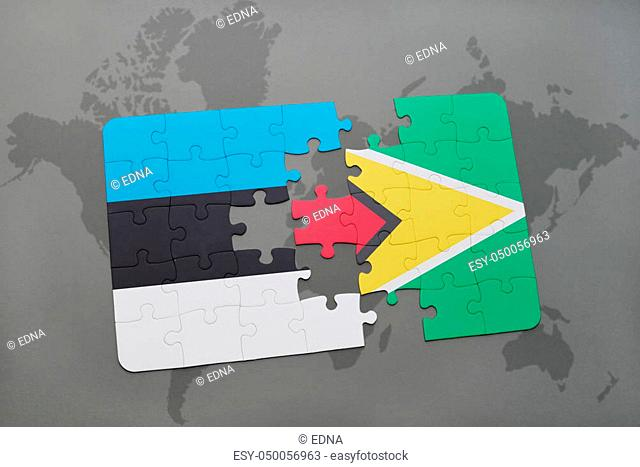 puzzle with the national flag of estonia and guyana on a world map background. 3D illustration