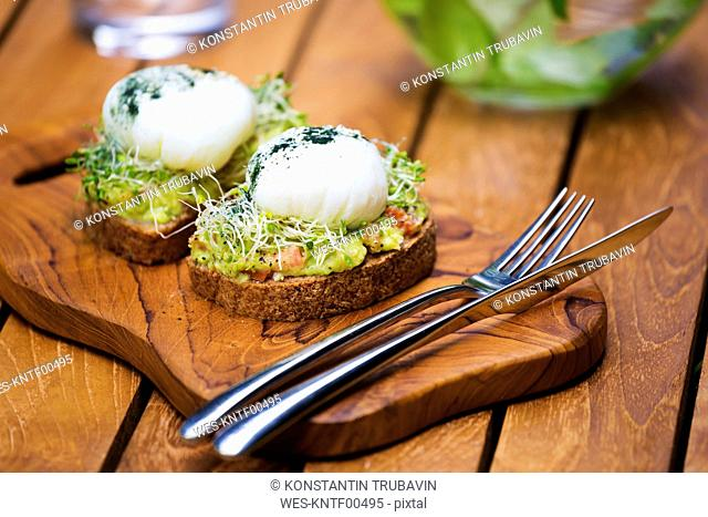 Slices of toast with mashed avocado, boiled egg and sprouts