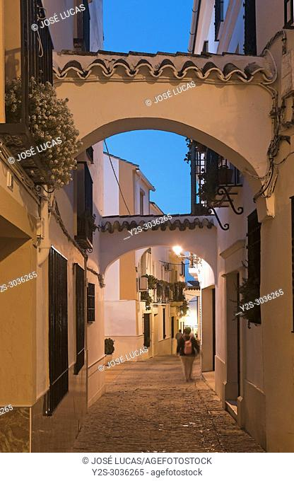 Cuesta de San Juan street at dusk. Neighborhood of El Cerro. Cabra. Cordoba province. Region of Andalusia. Spain. Europe