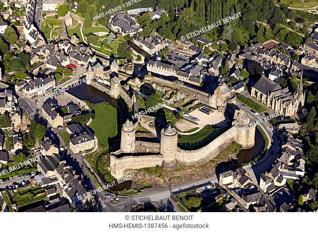 France, Ille et Vilaine, Fougeres, the Chateau de Fougeres, one of the greatest French Castle (aerial view)