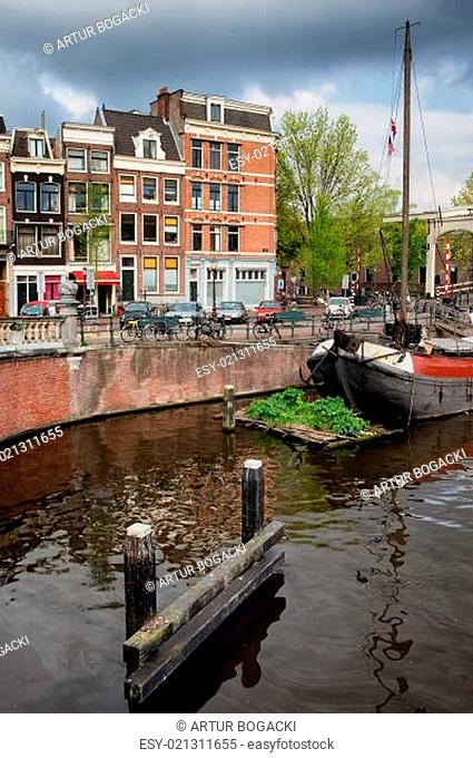Amstel River Waterfront in Amsterdam