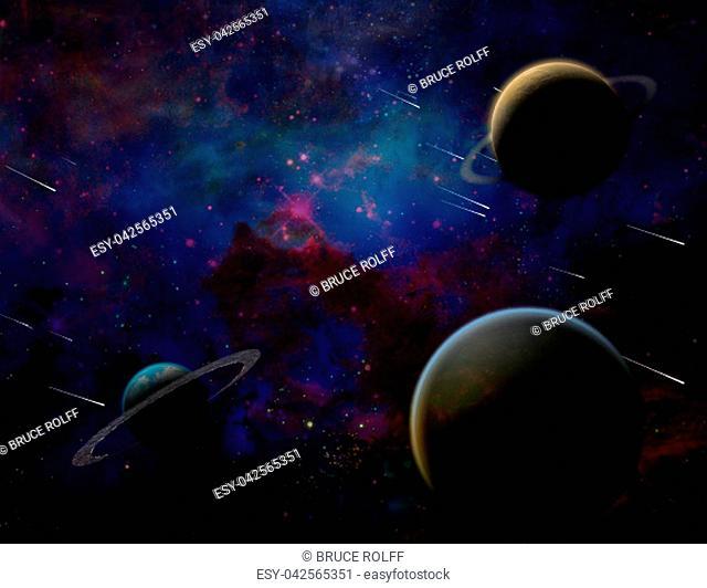 Planetary Armageddon. Massive meteorite - asteroid shower destroy planets. 3D rendering
